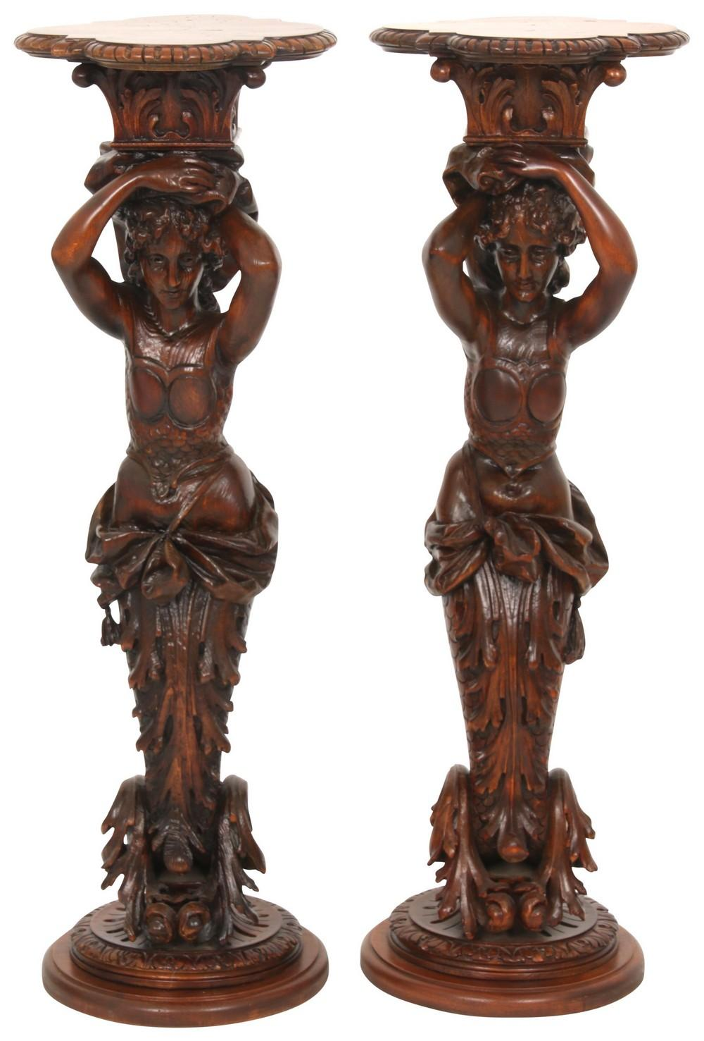 Pair of American Figural Carved Pedestals