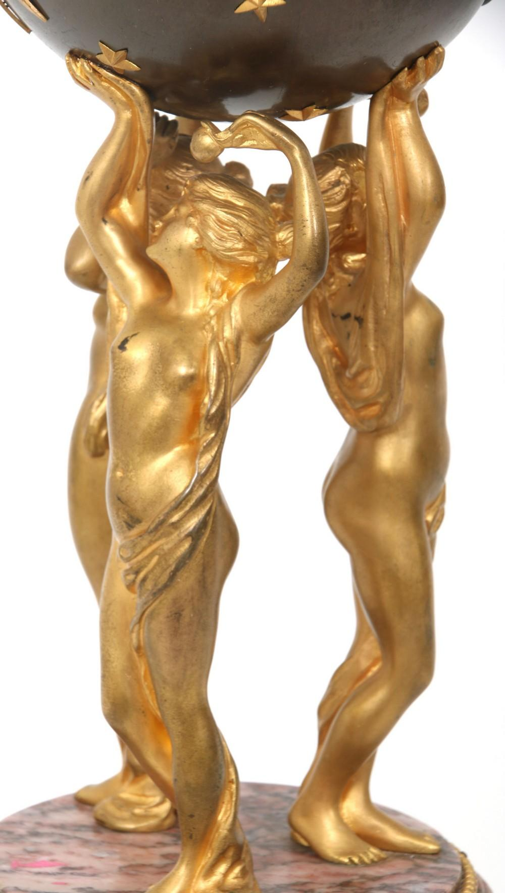 French Figural 3 Graces Clock