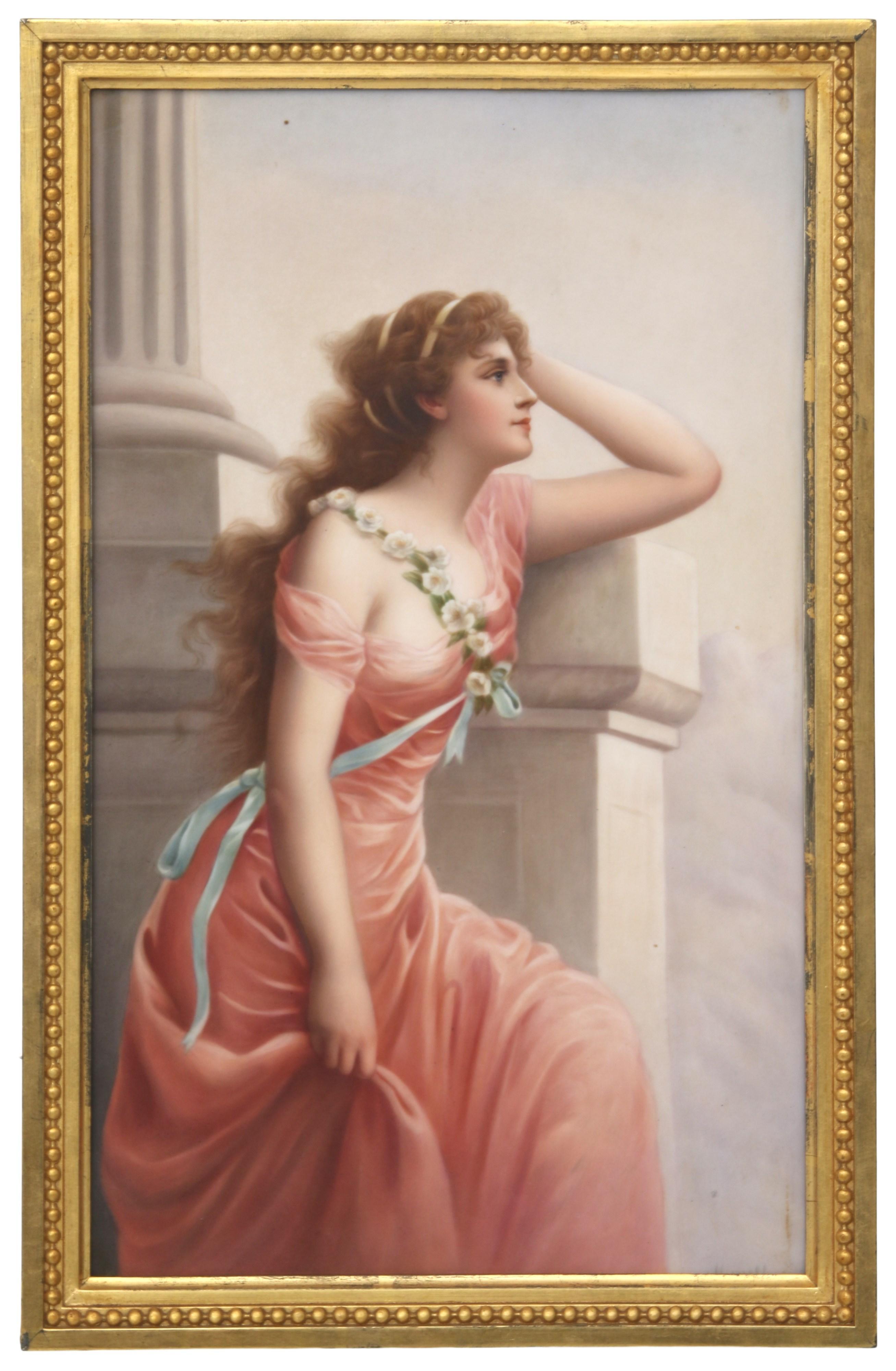 """KPM Porcelain Plaque of a Woman, """"Longing"""""""