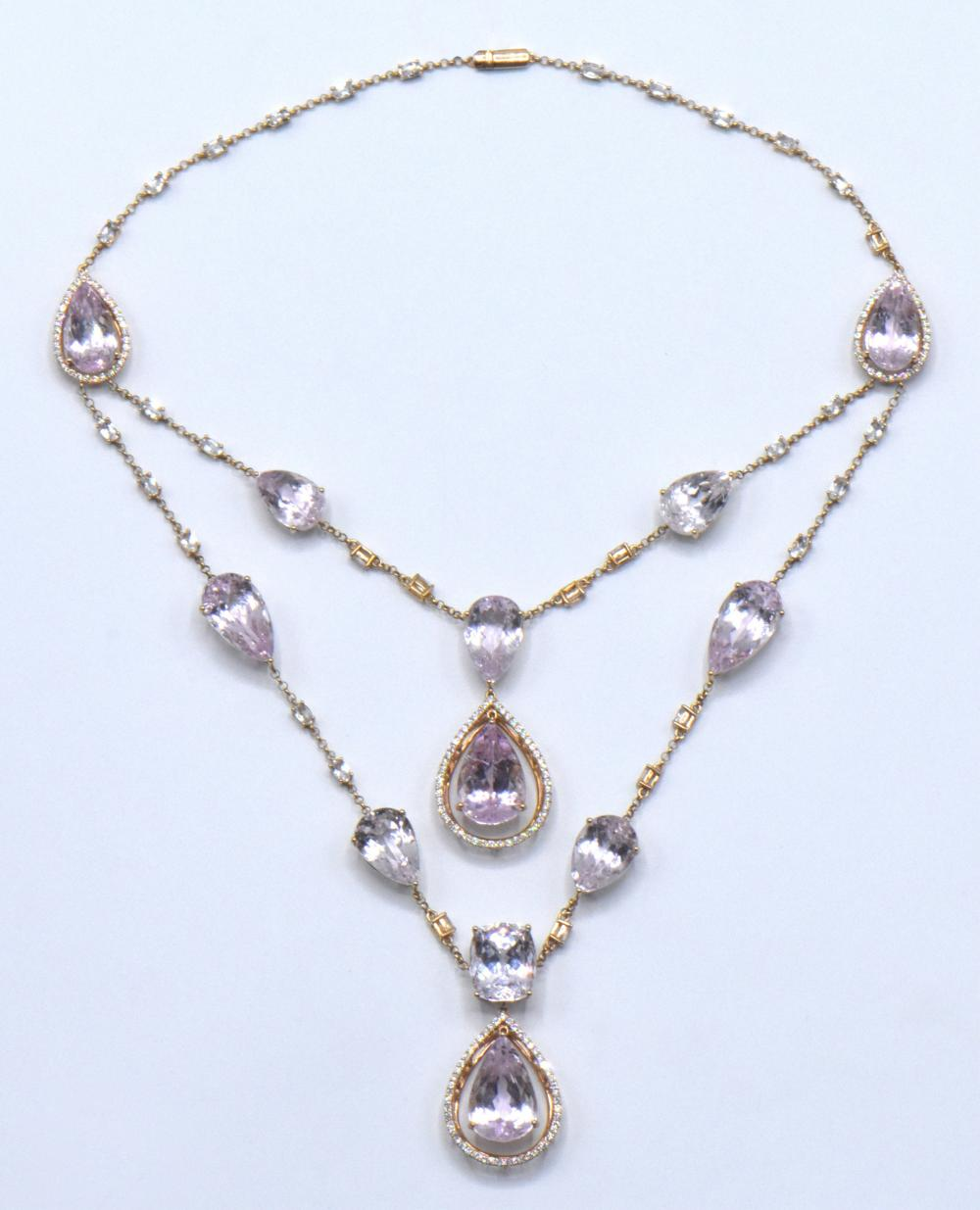 18 Karat Gold, Diamond, Kunzite, & Topaz Necklace