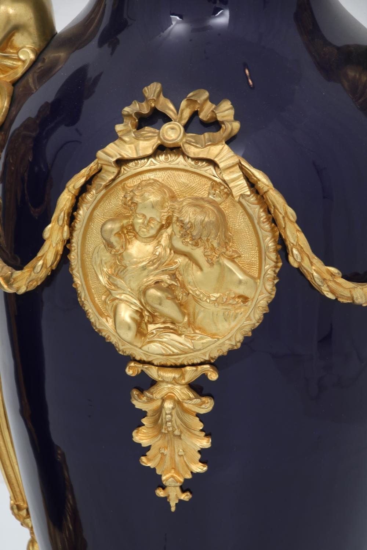 Louis XVI Style Bronze & Porcelain Palace Urns