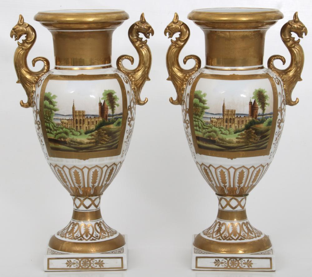 Attr. Tucker Factory, Pair of Porcelain Urns