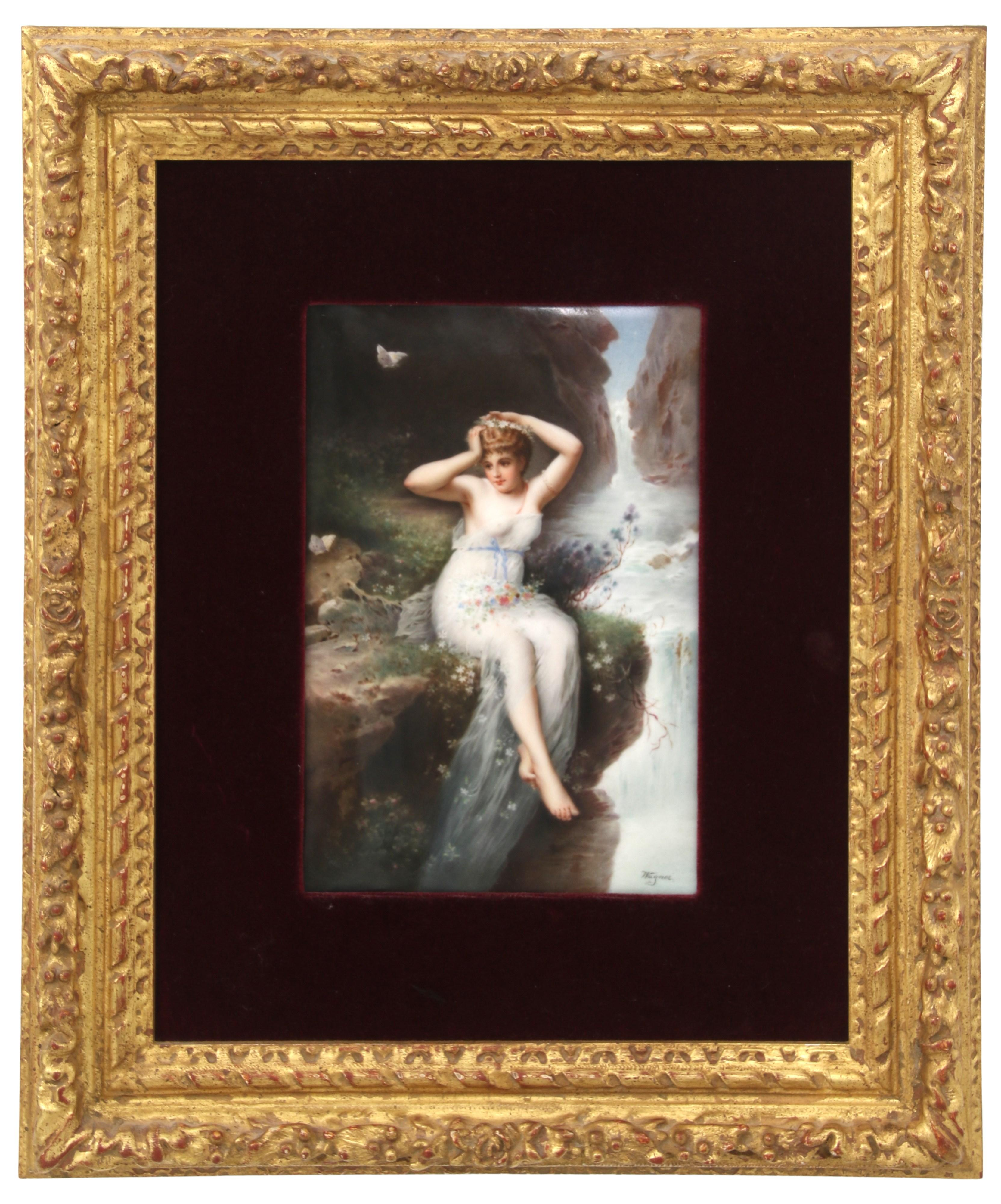 KPM Porcelain Plaque of a Woman by a Waterfall