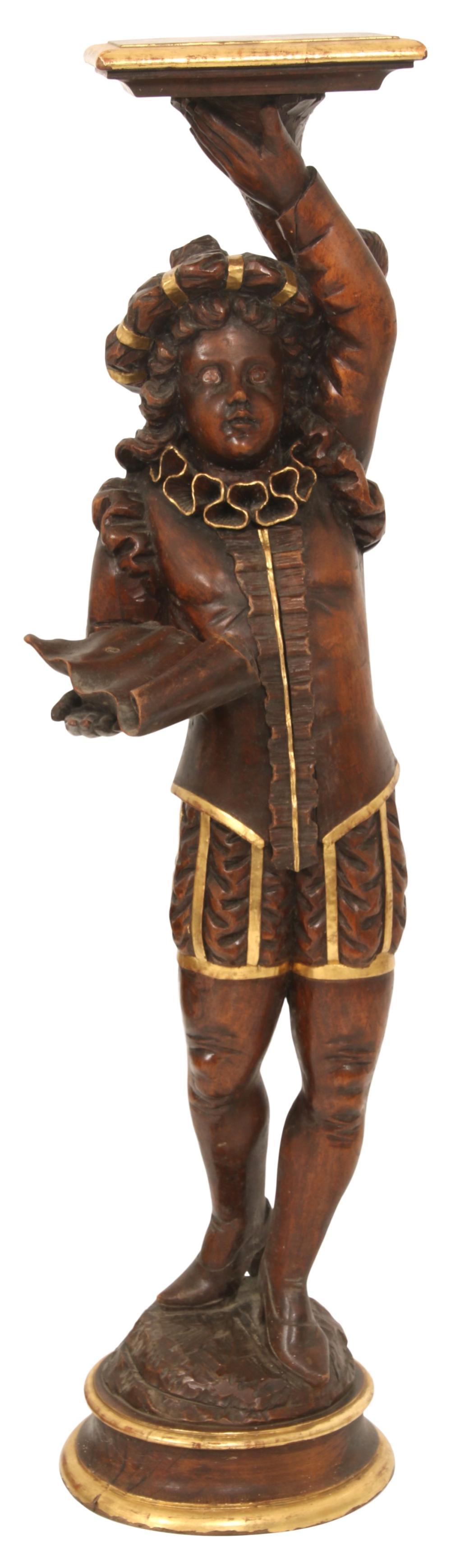 Venetian Carved Wood Figural Pedestal