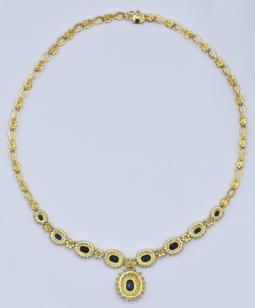 18 Karat Yellow Gold, Diamond, & Sapphire Necklace