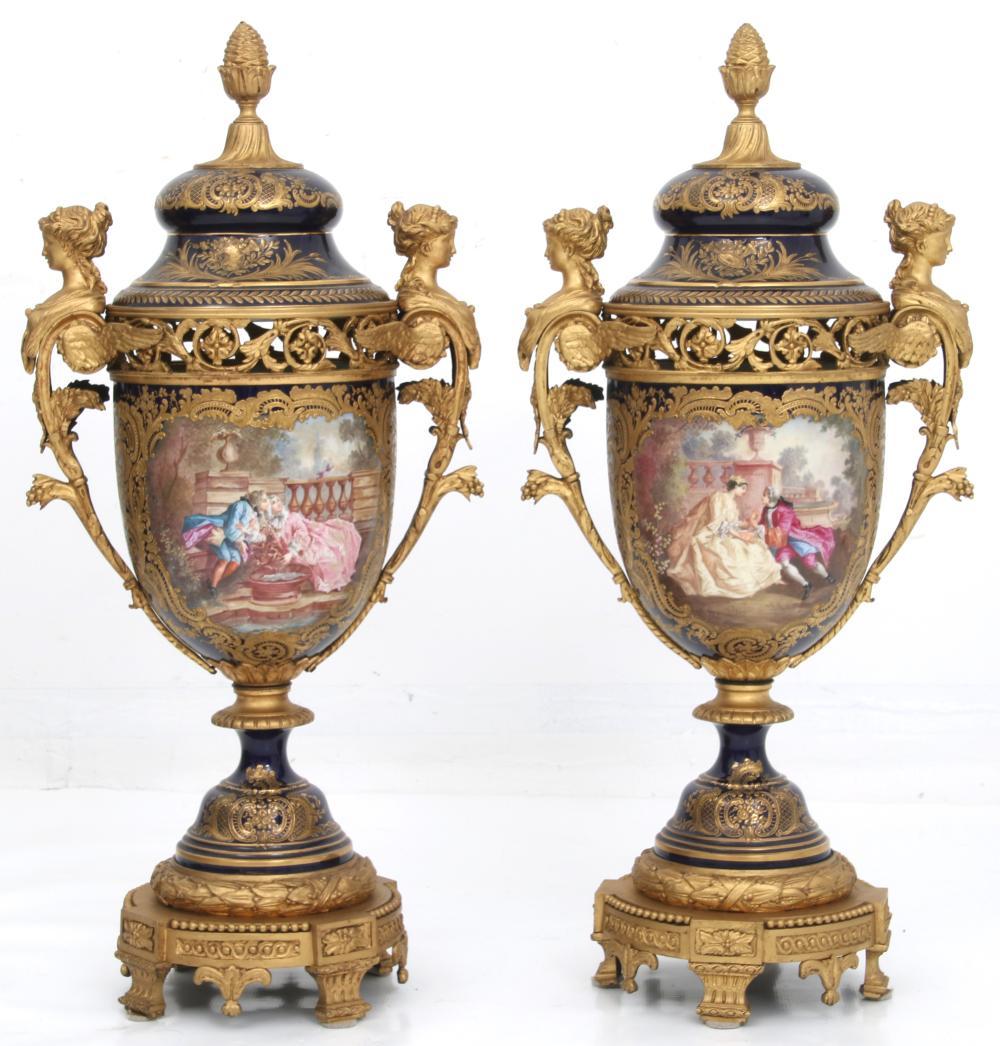 Sèvres Gilt Bronze & Porcelain Covered Urns