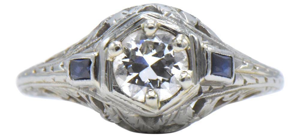18 Karat White Gold, Diamond, & Sapphire Ring