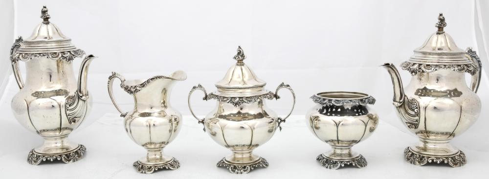 "Wallace Sterling ""Grand Baroque"" Tea & Coffee Set"