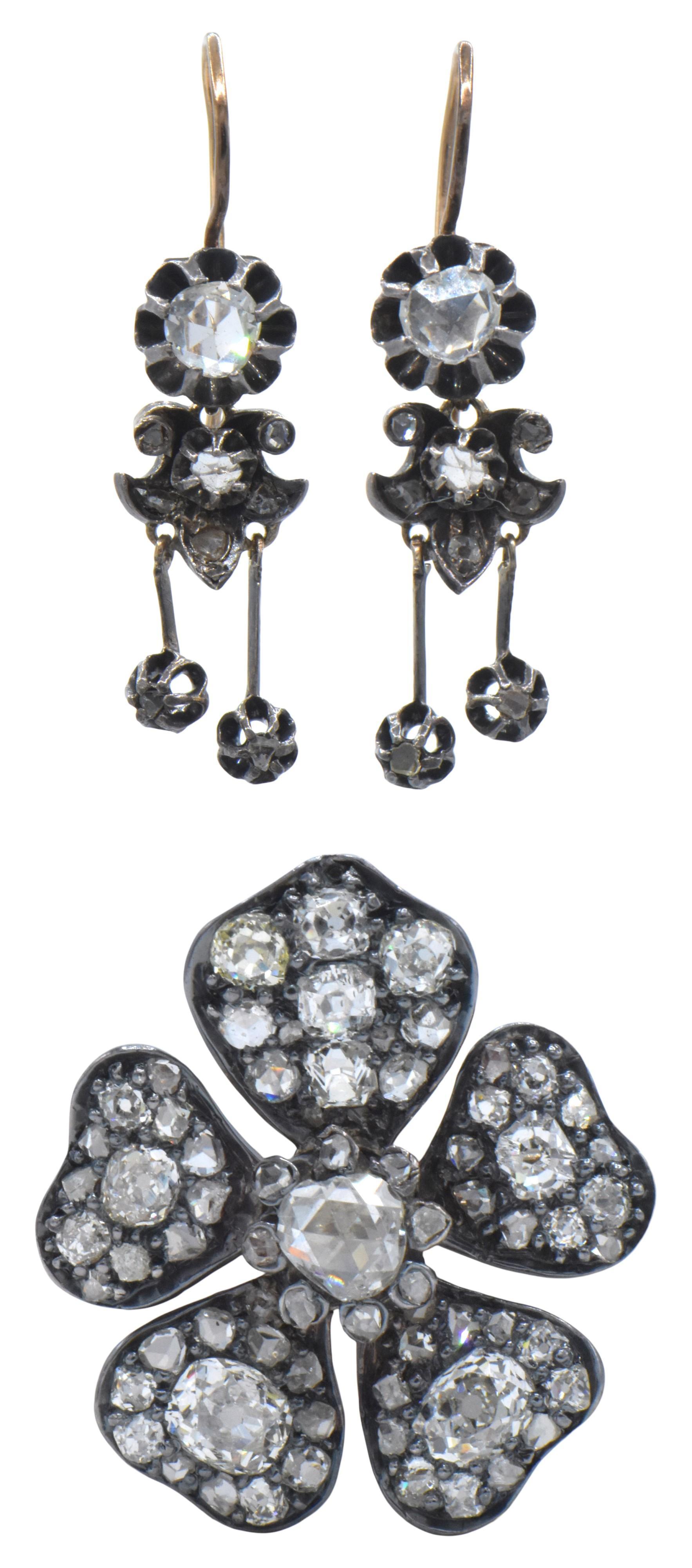 Georgian Rose Cut Diamond Brooch & Earrings