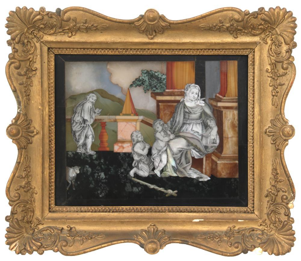 Italian Pietra Dura & Mother-of-Pearl Plaque