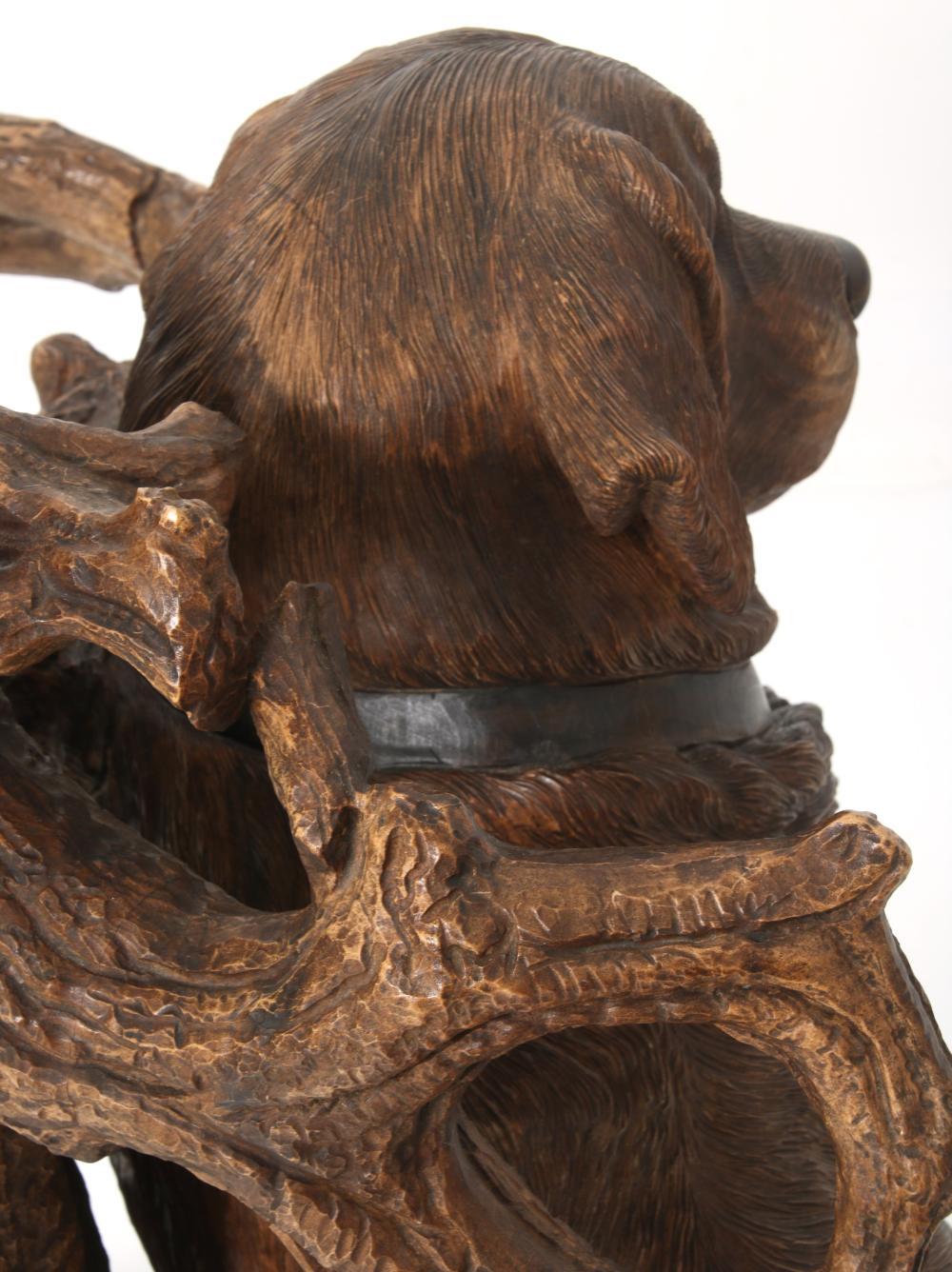 Black Forest Carved Dog Umbrella Stand