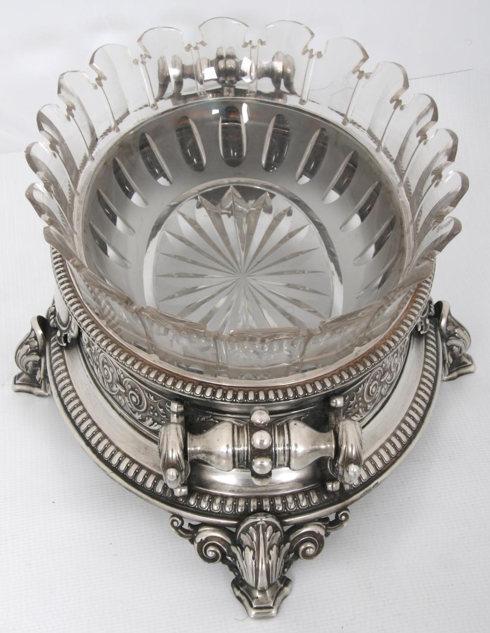 German 930 Silver & Cut Glass Centerpiece