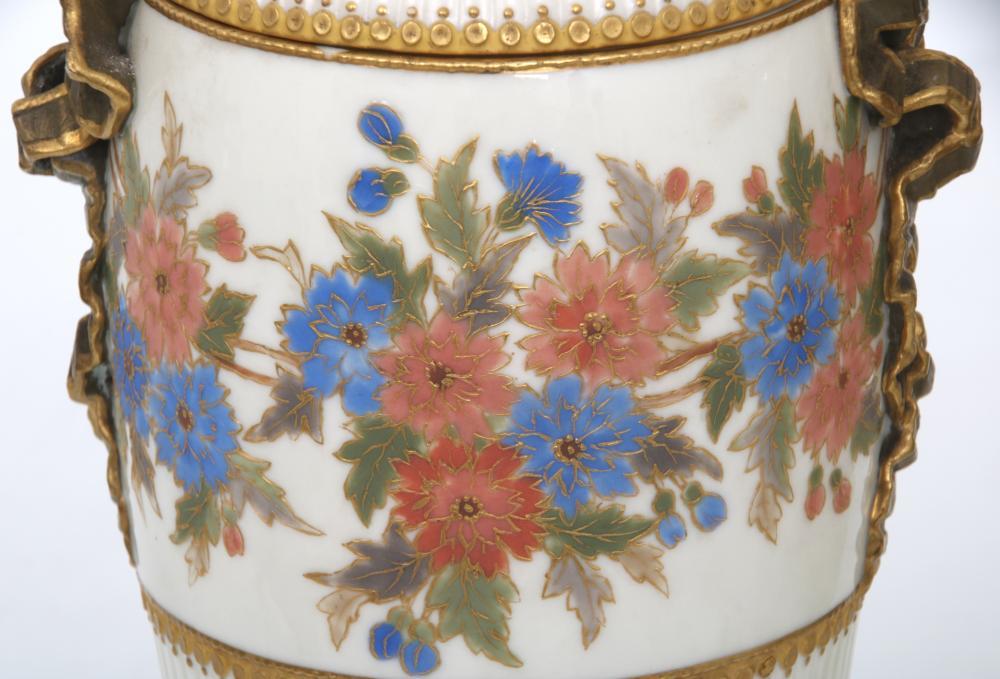Pair of Grainger & Co. Porcelain Covered Urns