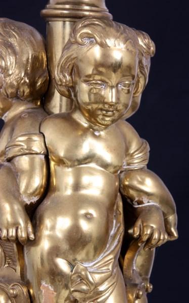 Bronze 8 Arm Figural Putti Chandelier