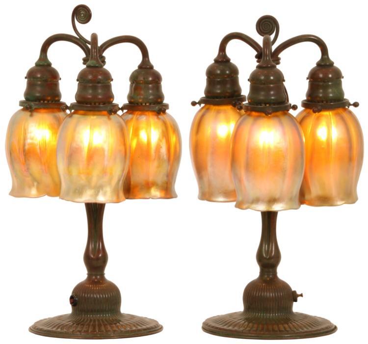 Pr. of Tiffany Studios 3 Light Tulip Table Lamps