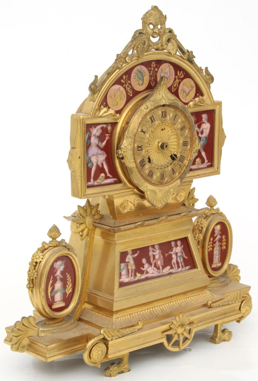 French Gilt Bronze & Porcelain Clock Garniture