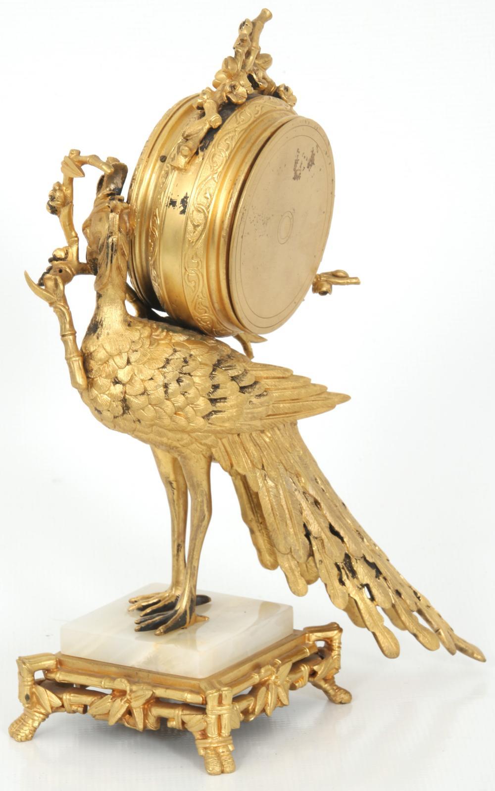 French Gilt Bronze Peacock Desk Clock