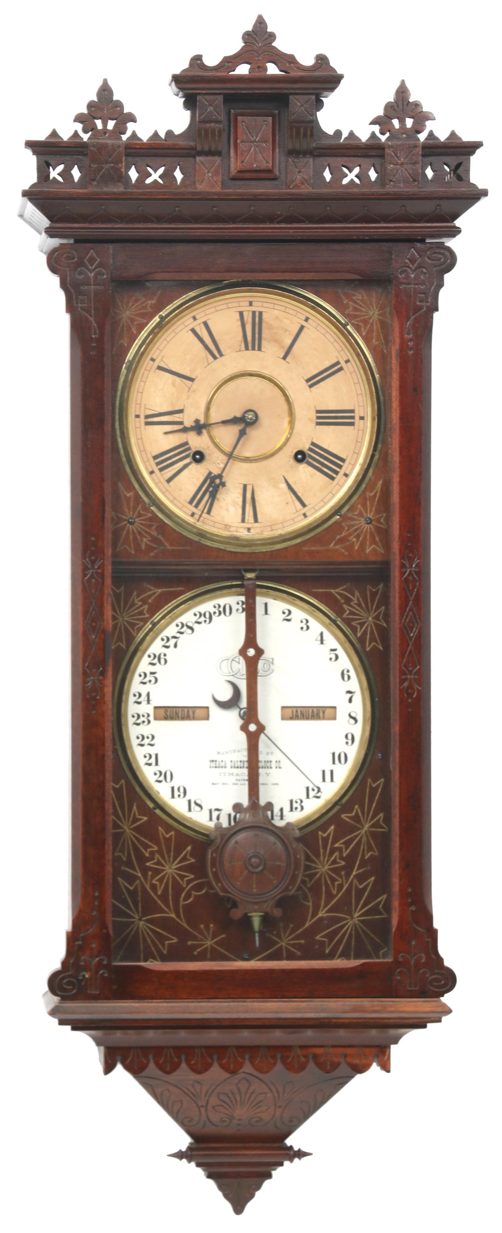 Ithaca No. 5 1/2 Hanging Belgrade Calendar Clock