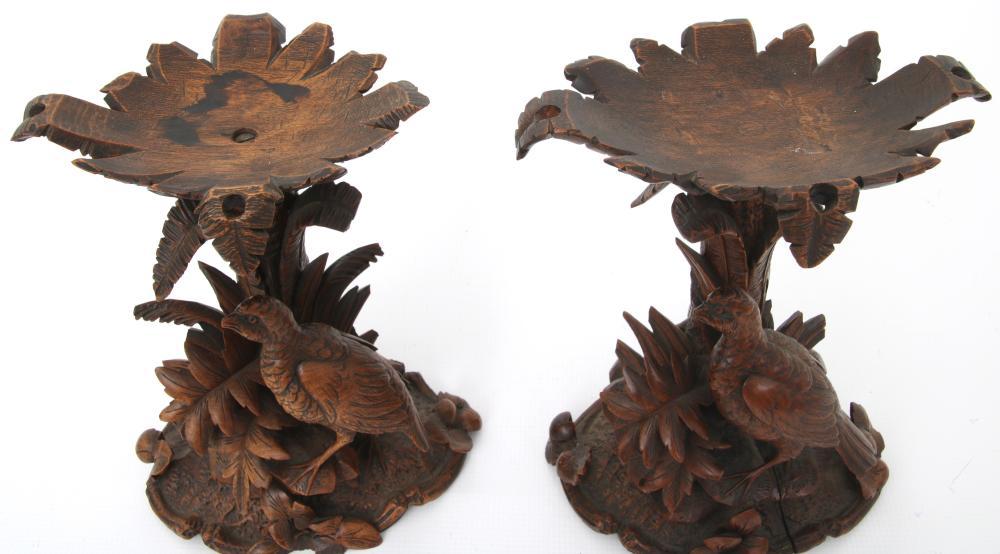 Black Forest Carved Clock Garniture