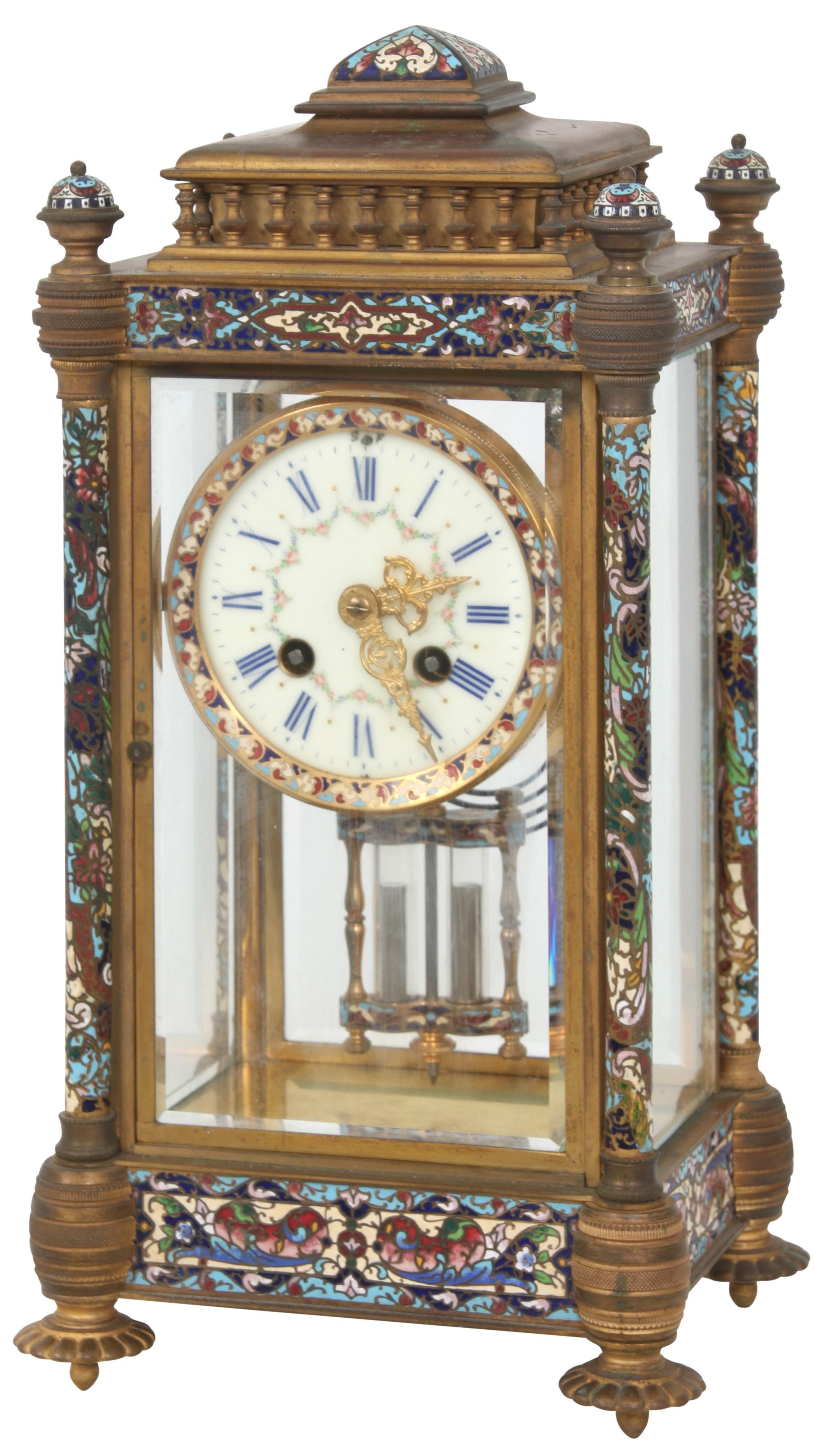 French Champlevé Crystal Regulator Clock