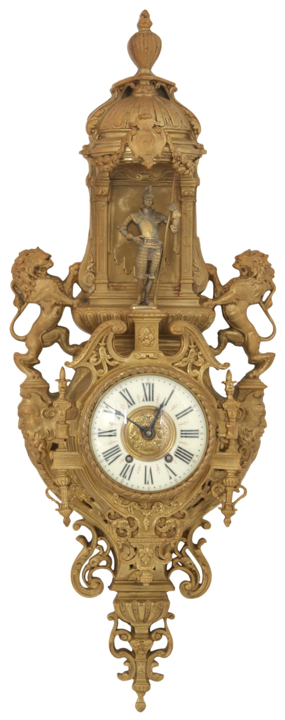 French Gilt Bronze Cartel Clock