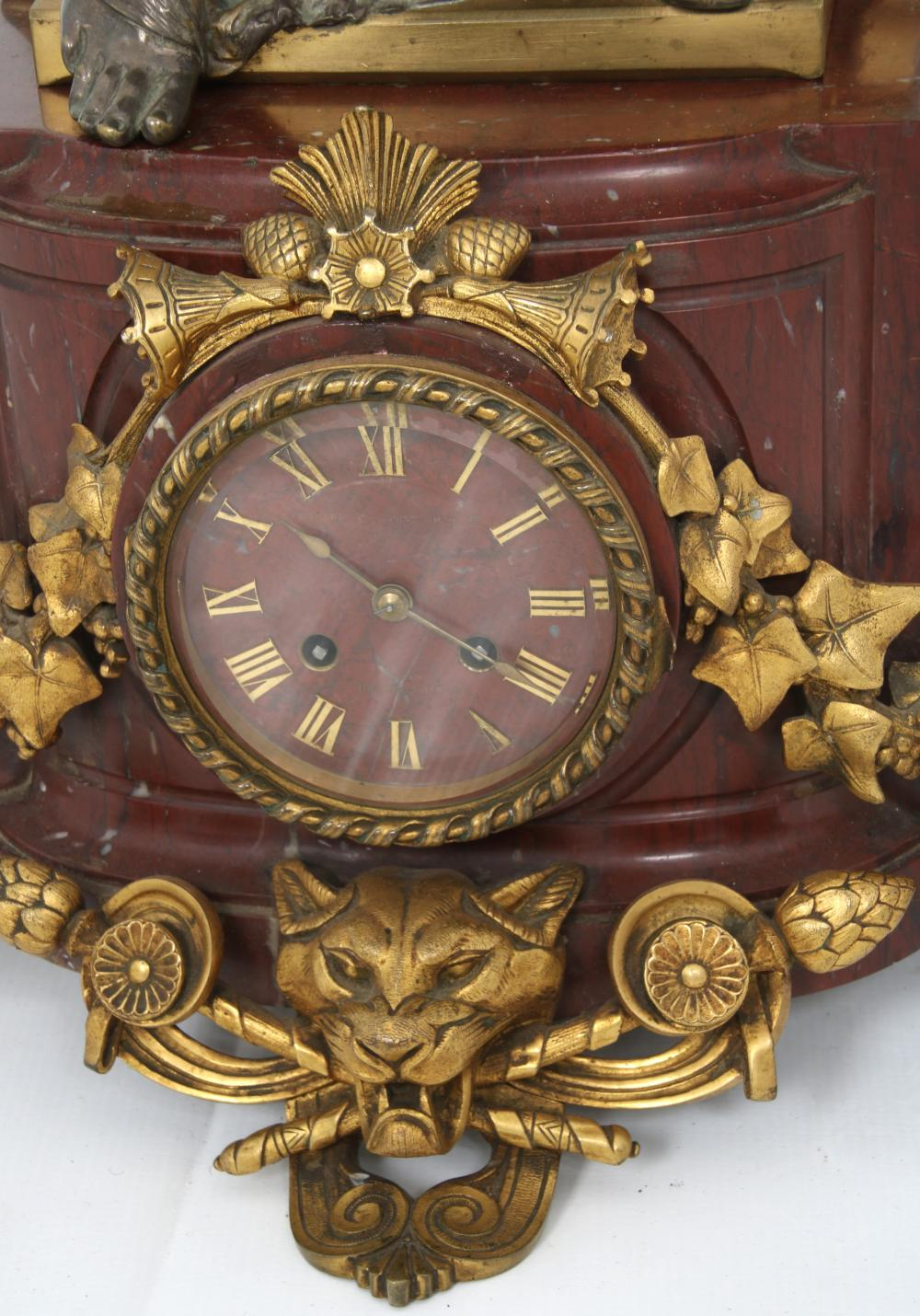French Bronze & Rouge Marble Figural Clock