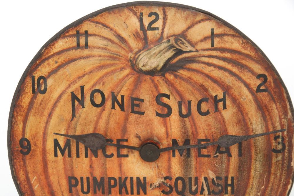 """None Such"" Pumpkin Advertising Clock"