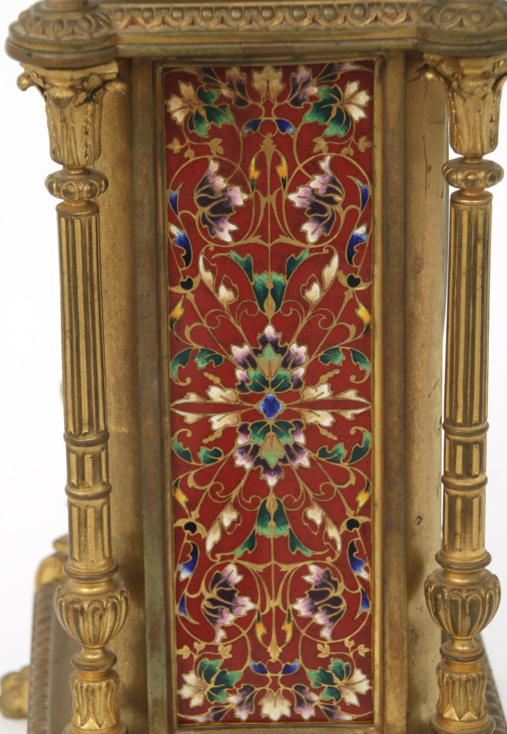 Tiffany & Co. Bronze & Cloisonné Mantel Clock