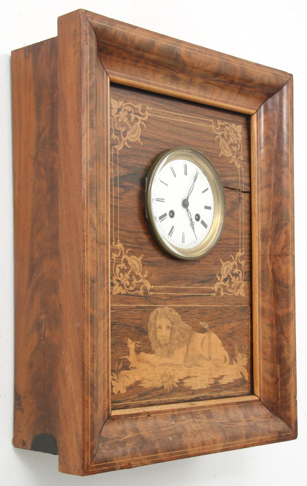 French Silk Thread Inlaid Wall Clock