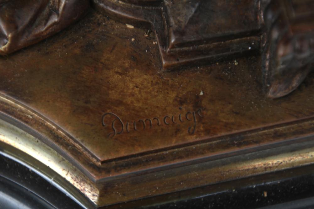 Etienne-Henri Dumaige Bronze Clock Garniture