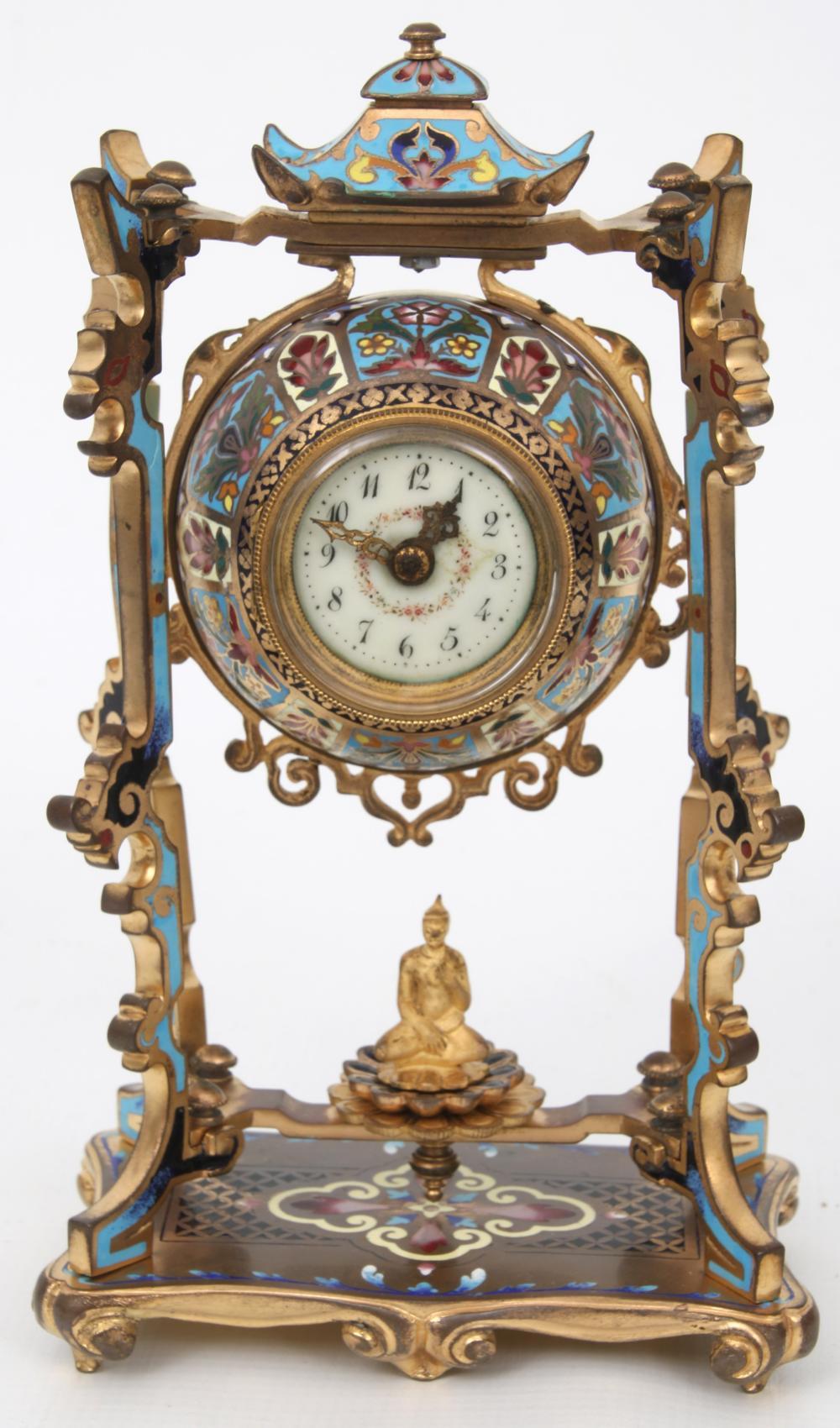 French Bronze & Champlevé Clock Garniture