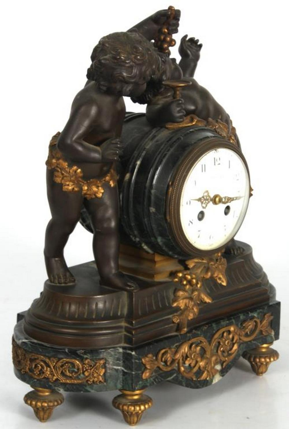 Tiffany & Co. Bronze & Marble Clock Garniture