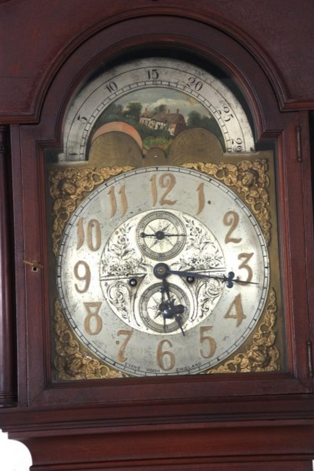 W.F. Evans & Sons Mahogany Grandfather Clock