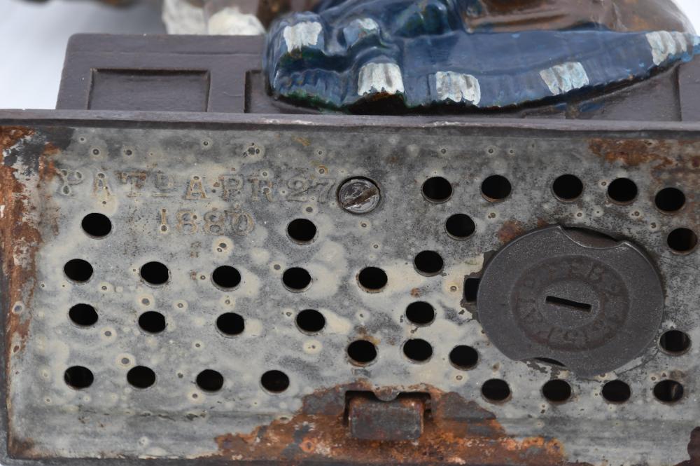"""J. & E. Stevens """"Bull Dog Bank"""" Cast Iron Mechanical Bank"""
