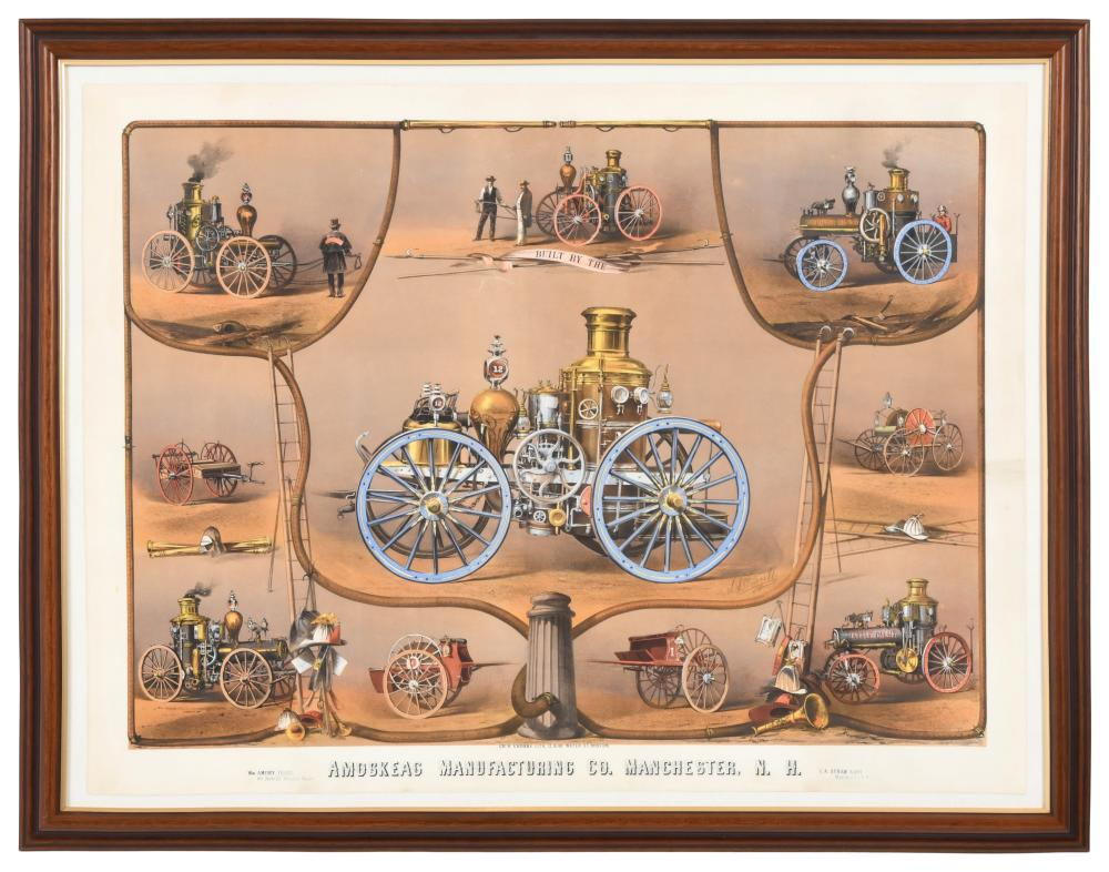 Lithograph of Amoskeag Mfg. Co. Steam Fire Engines