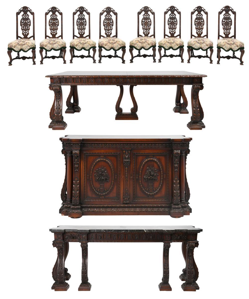 American Carved Mahogany Dining Set