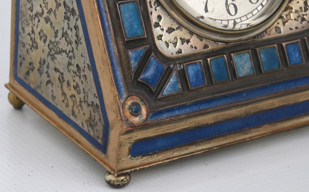 Tiffany Furnaces Gilt Bronze & Enamel Desk Clock
