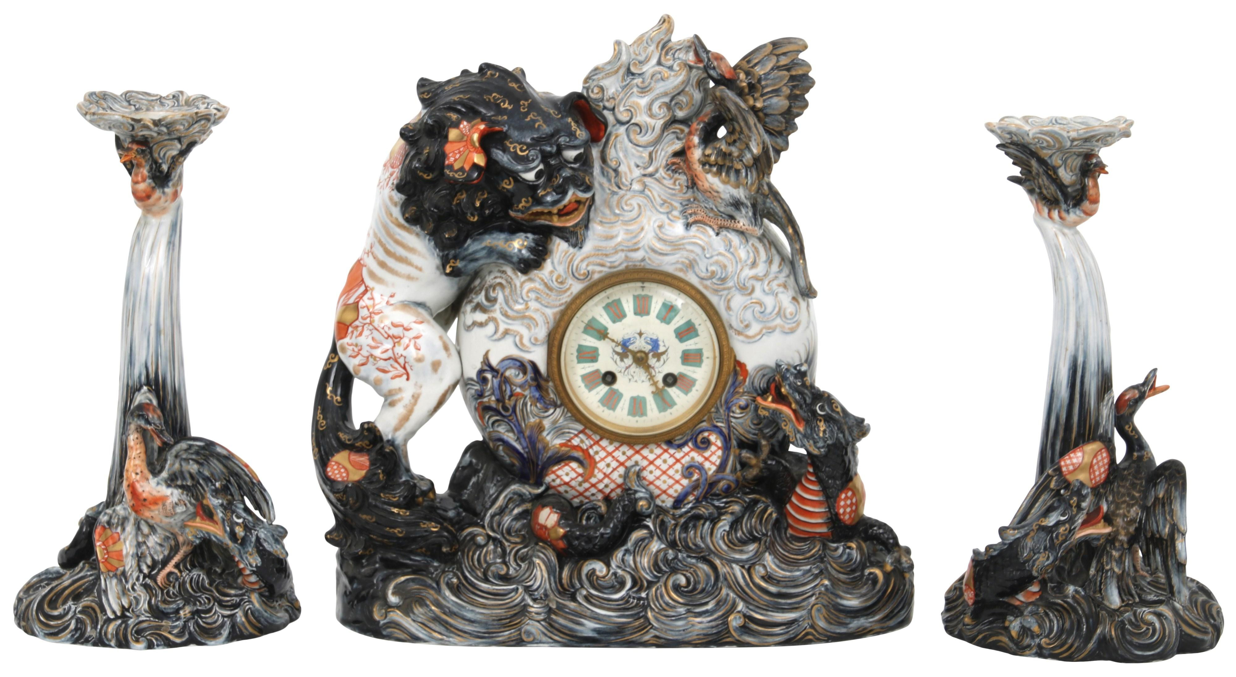 Émile Gallé Pottery Clock Garniture