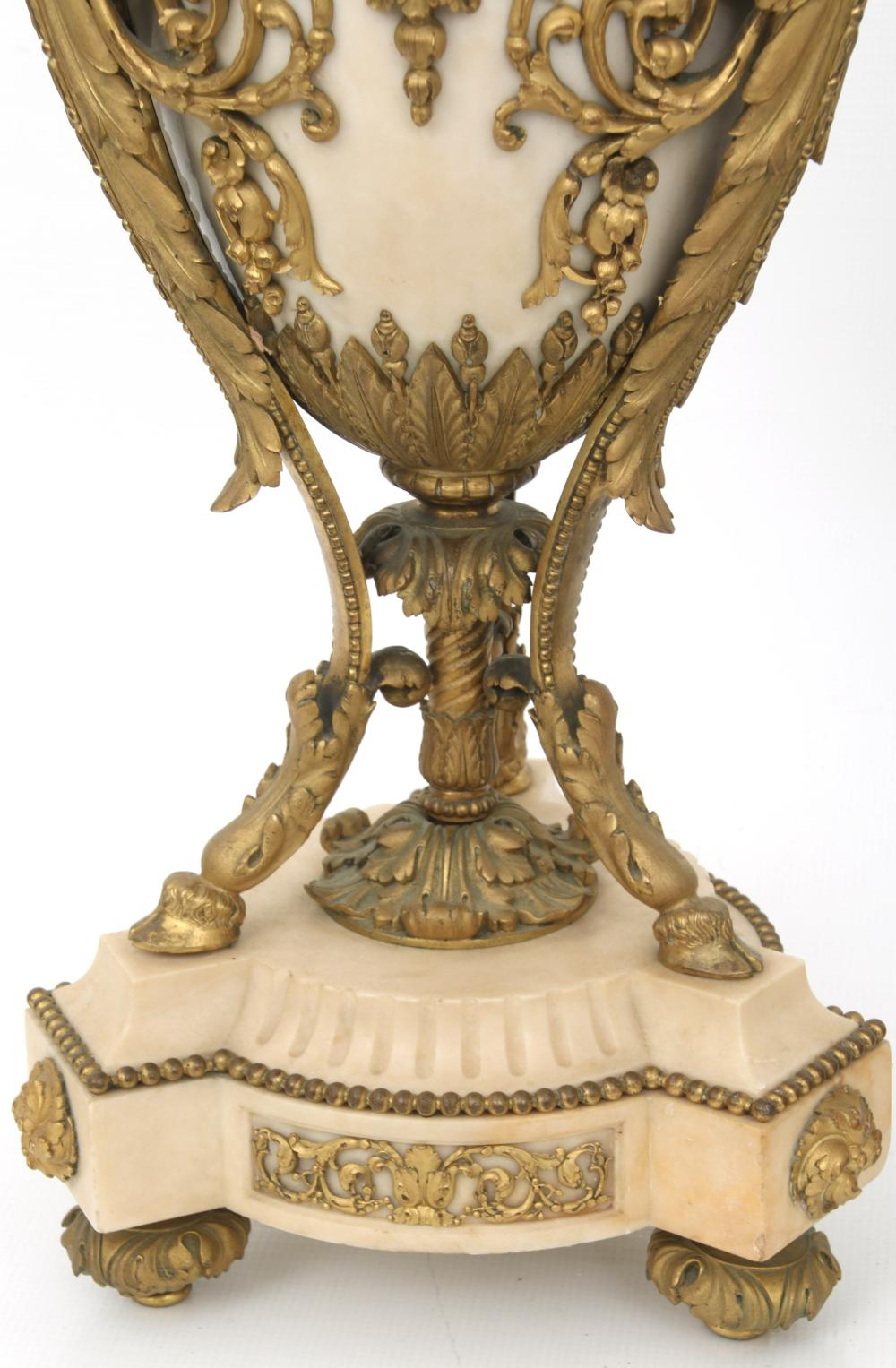 Pair of Louis XVI Style Gilt Bronze & Marble Urns