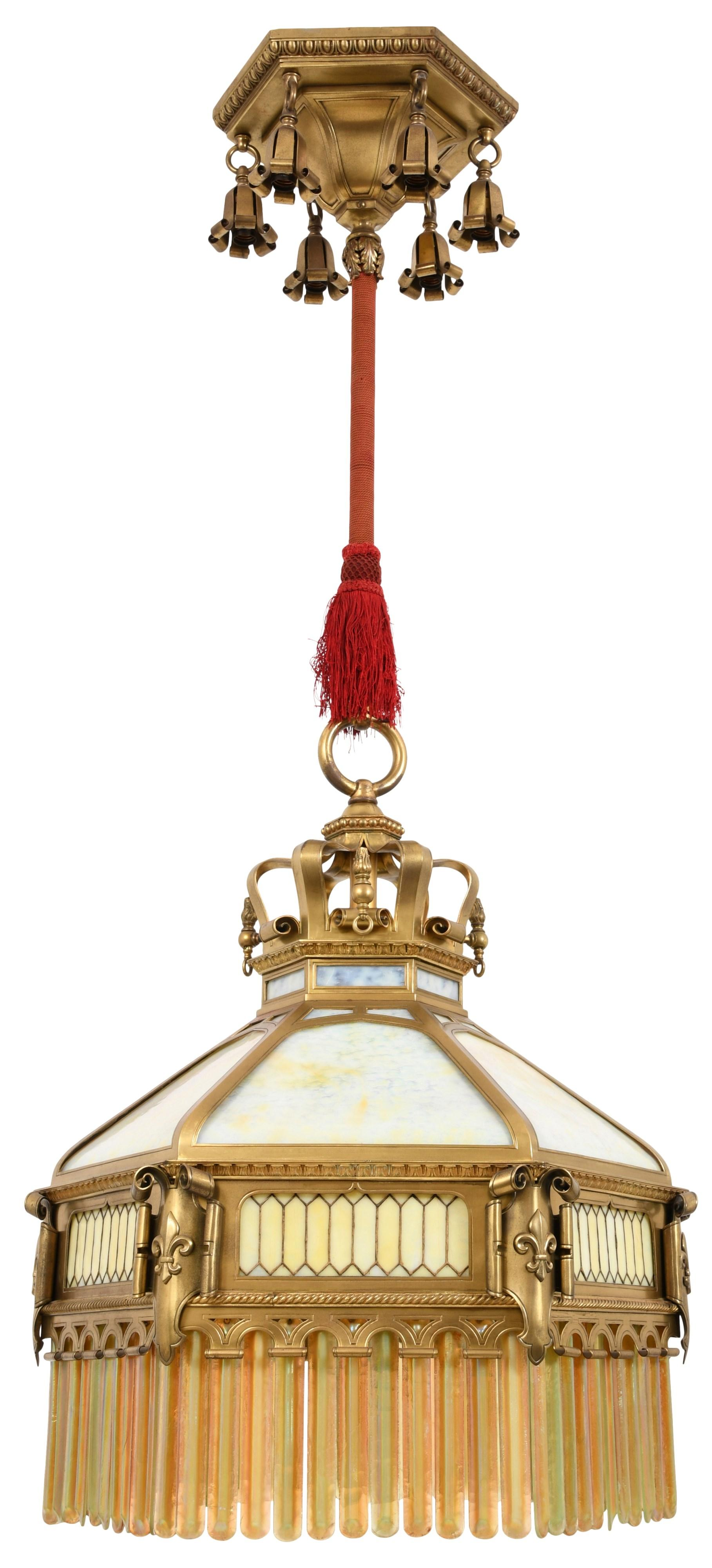 Arts & Crafts Chandelier with Tiffany Prisms