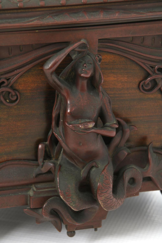 Art Nouveau Bronze & Satinwood Figural Box