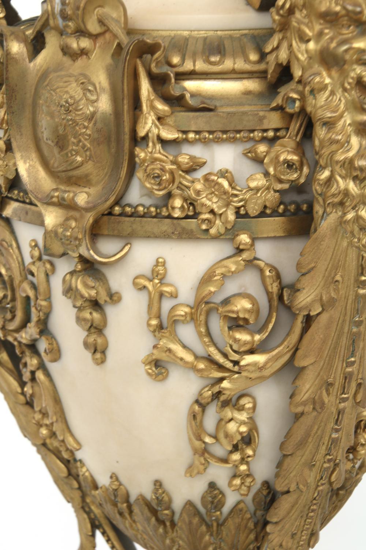 Pair of Louis XVI Style Gilt Bronze & Marble Urns
