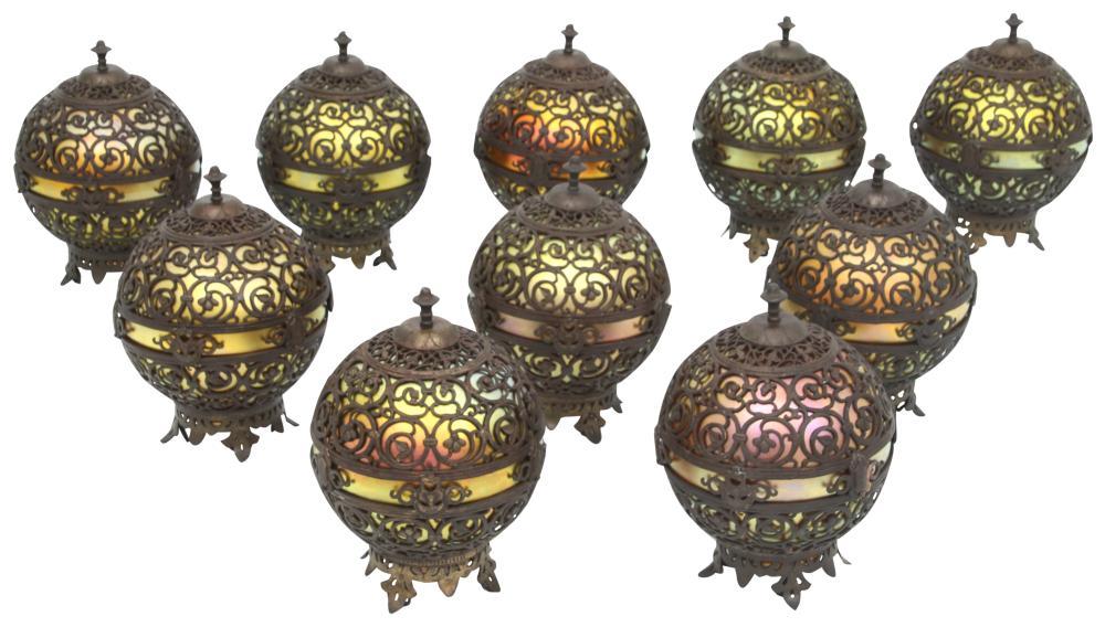 Set of 10 Oscar Bach/Steuben Hanging Lamps