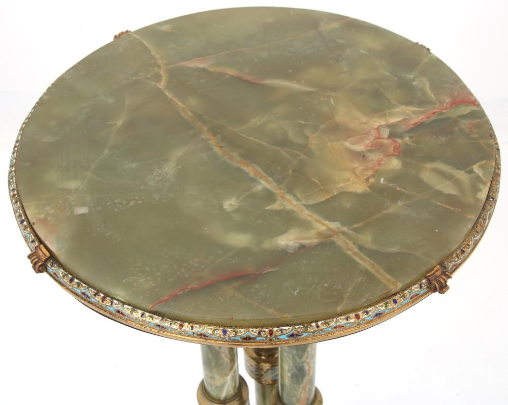 French Bronze & Champlevé-Mounted Onyx Pedestal