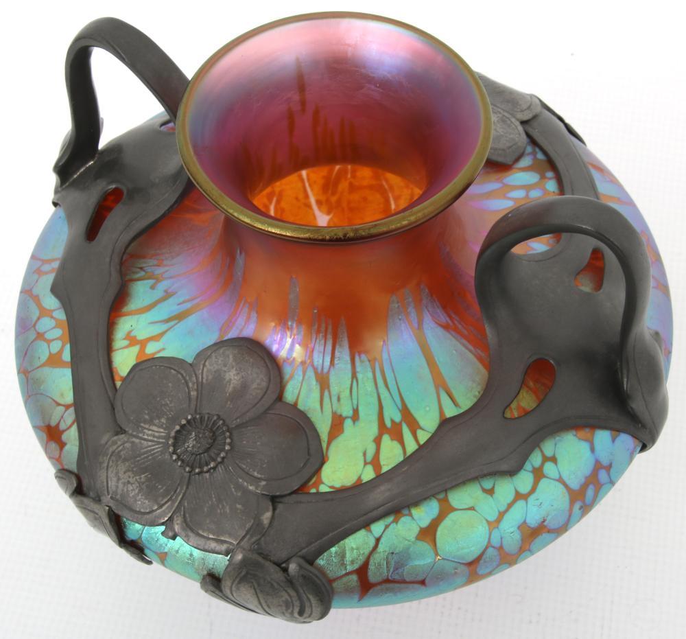 Loetz Pewter Mounted Iridescent Glass Vase