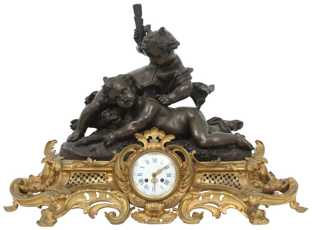 Napoleon III Bronze Figural Mantel Clock