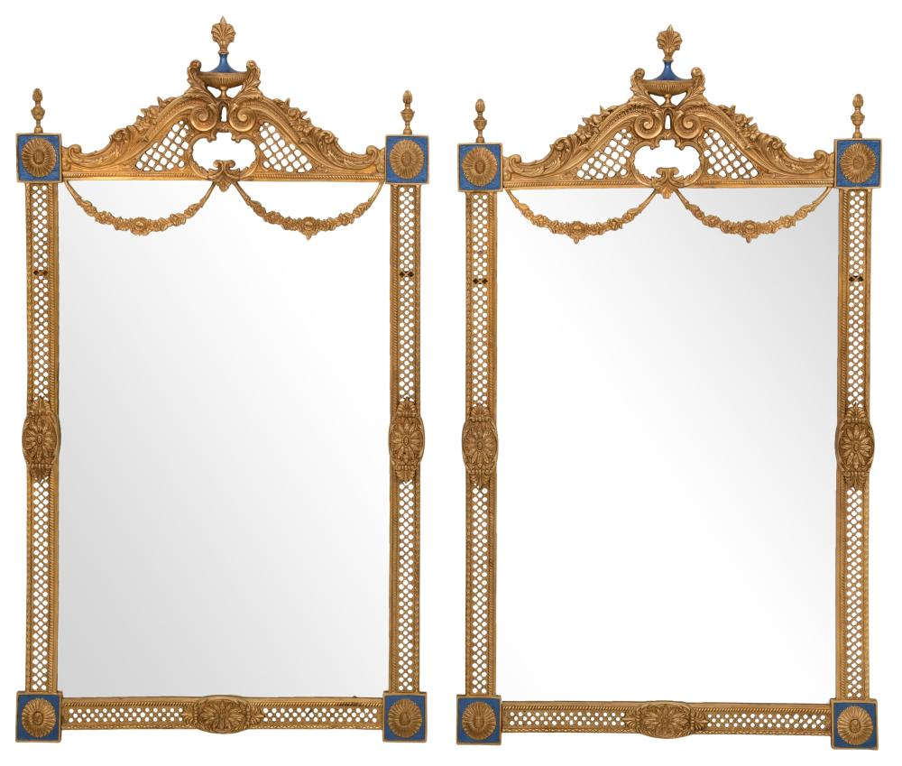 Pair of Louis XVI Style Gilt Bronze Mirrors