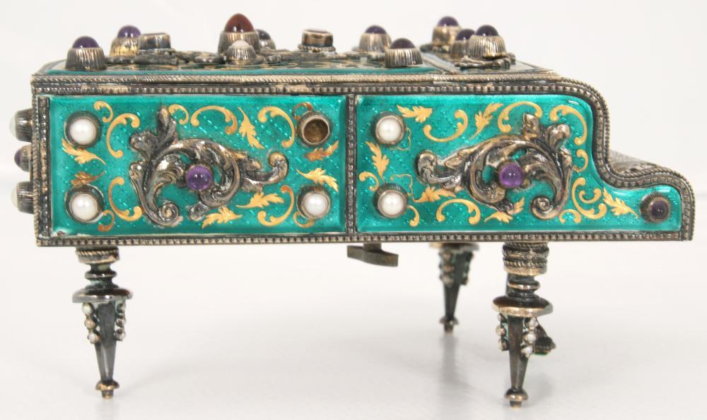 Austrian Silver & Enamel Piano-Form Music Box