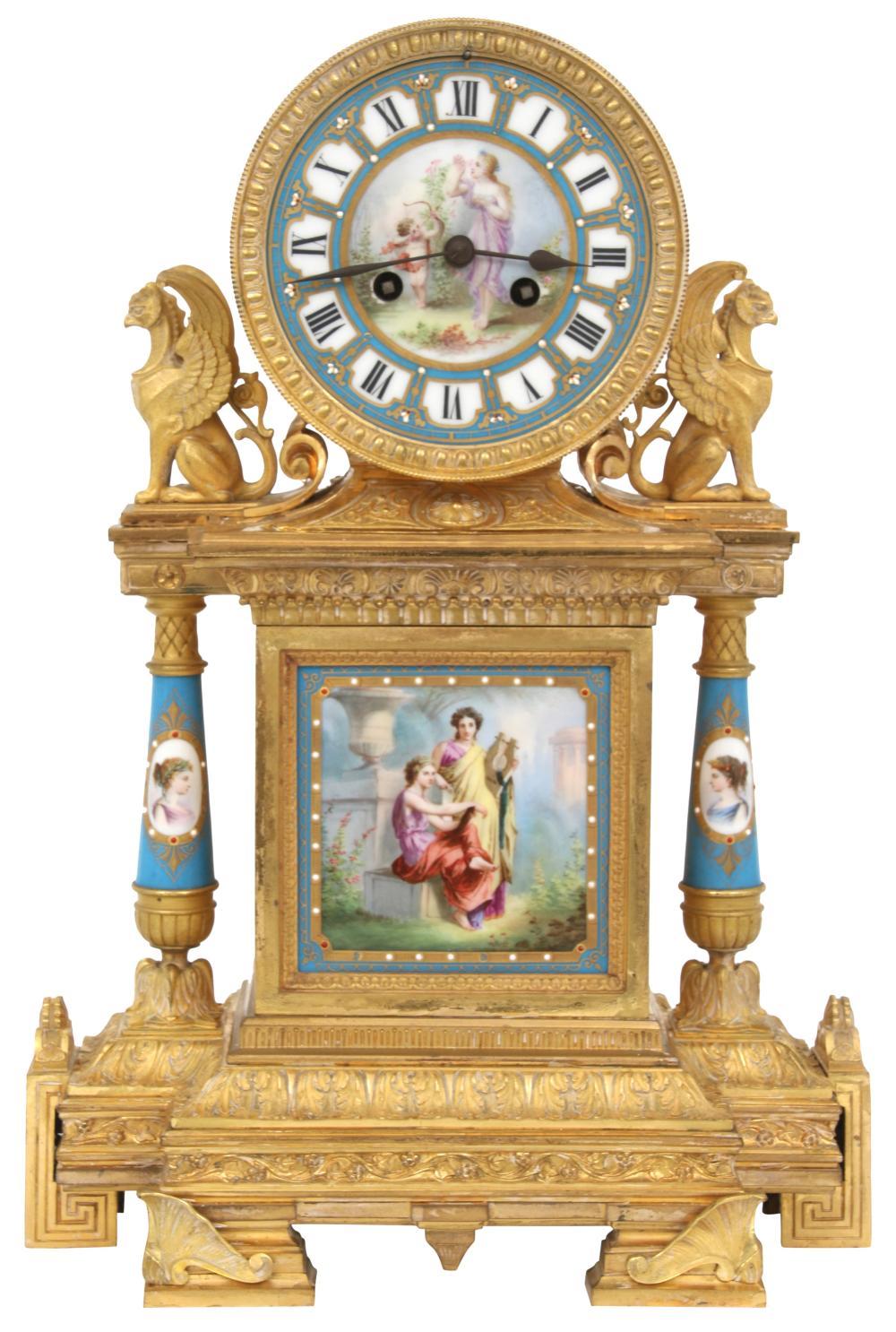 Achille Brocot Bronze & Porcelain Mantel Clock