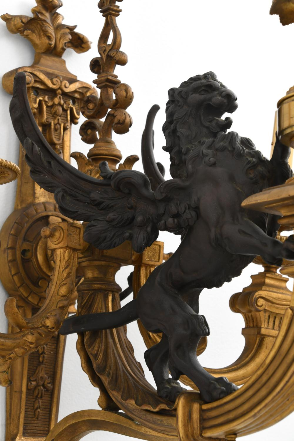 Pair of French Bronze Figural Sconces
